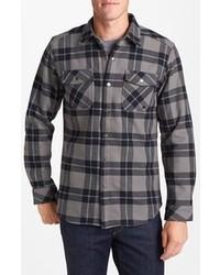 Camisa de manga larga de tartán en gris oscuro