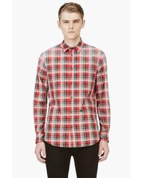 Camisa de manga larga de tartán en rojo y blanco de DSquared