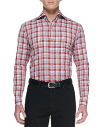 Camisa de manga larga de tartán en rojo y blanco de Ermenegildo Zegna