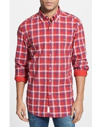 Camisa de manga larga de tartán en rojo y blanco de Lacoste