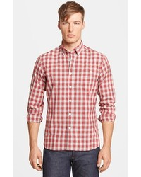 Camisa de manga larga de tartán en rojo y blanco de Todd Snyder