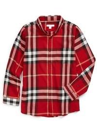 Camisa de manga larga de tartán en rojo y negro de Burberry