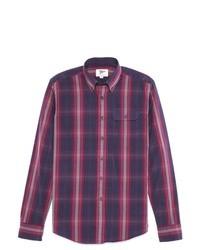 Camisa de manga larga de tartán en violeta