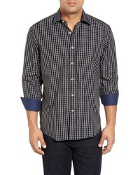Camisa de manga larga de tartán negra de Bugatchi