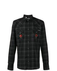 Camisa de manga larga de tartán negra de Dolce & Gabbana
