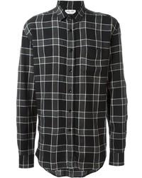 Camisa de manga larga de tartán negra de Saint Laurent