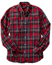 Camisa de manga larga de tartán roja