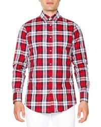 Camisa de manga larga de tartán roja de DSQUARED2