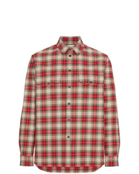 Camisa de manga larga de tartán roja de Gucci