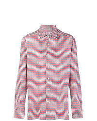 Camisa de manga larga de tartán roja de Kiton