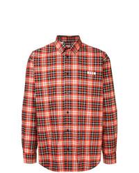 Camisa de manga larga de tartán roja de MSGM