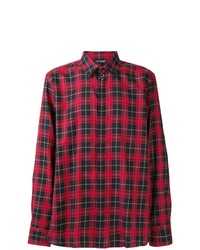 Camisa de manga larga de tartán roja de Neil Barrett