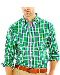 Camisa de manga larga de tartán verde