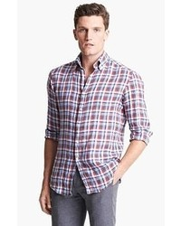 Camisa de Manga Larga en Blanco y Rojo y Azul Marino