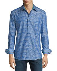 Camisa de Manga Larga Estampada Azul de Robert Graham