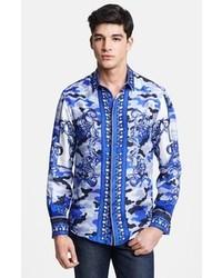 Camisa de Manga Larga Estampada Azul de Versace