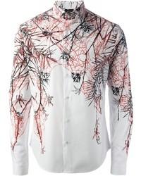 Camisa de manga larga estampada blanca