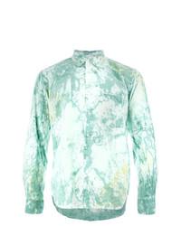 Camisa de manga larga estampada en verde menta de Comme Des Garcons Homme Plus
