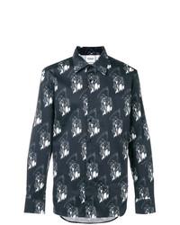 Camisa de manga larga estampada negra de Sss World Corp