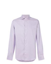 Camisa de manga larga estampada violeta claro de Canali