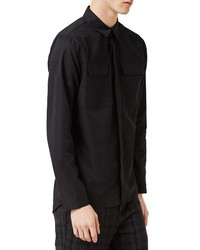 Camisa de manga larga negra de Topman