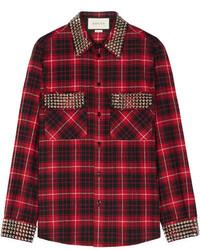 Camisa de tartán burdeos de Gucci