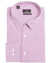 Camisa de vestir a cuadros en blanco y rojo