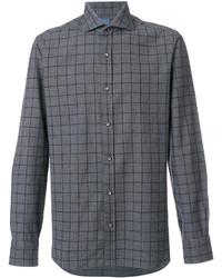 Camisa de vestir a cuadros en gris oscuro de Barba
