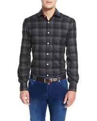 Camisa de vestir a cuadros en gris oscuro de Kiton