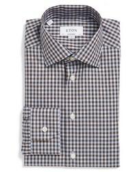 Camisa de vestir a cuadros en marrón oscuro de Eton