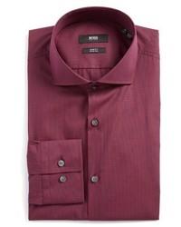 Camisa de vestir a cuadros morado de BOSS