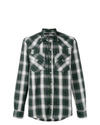 Camisa de vestir a cuadros verde oscuro de Paura