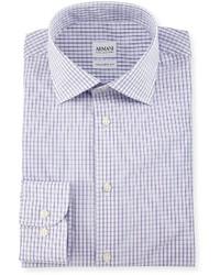 Camisa de vestir a cuadros violeta claro de Armani Collezioni