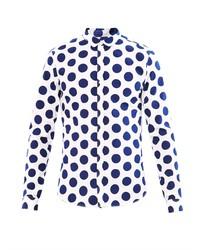 Camisa de vestir a lunares en blanco y azul marino