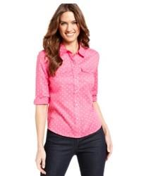 Camisa de vestir a lunares rosada
