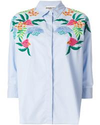 Camisa de vestir bordada celeste