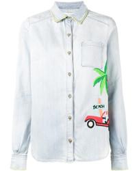 Camisa de vestir bordada celeste de Mira Mikati