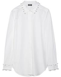 Camisa de vestir con adornos blanca de DKNY