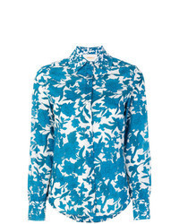 Camisa de vestir con print de flores azul