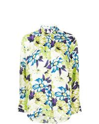 Camisa de vestir con print de flores en amarillo verdoso de MSGM