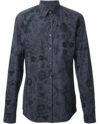 Camisa de vestir con print de flores en gris oscuro de Gucci