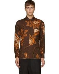 Camisa de vestir con print de flores marrón de Yohji Yamamoto