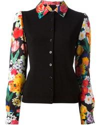 Camisa de vestir con print de flores negra de Moschino