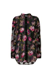 Camisa de vestir con print de flores negra de MSGM
