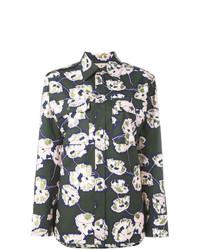 Camisa de vestir con print de flores verde oscuro de Marni