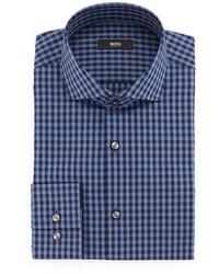 Camisa de vestir de cuadro vichy azul de BOSS