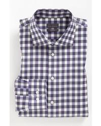Camisa de vestir de cuadro vichy en blanco y azul marino de Calibrate