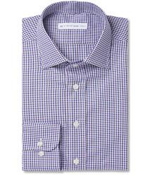 Camisa de vestir de cuadro vichy en blanco y azul marino de Etro
