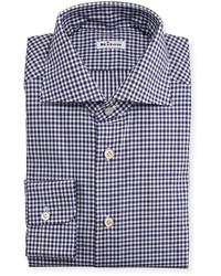 Camisa de vestir de cuadro vichy en blanco y azul marino de Kiton