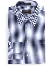 Camisa de vestir de cuadro vichy en blanco y azul marino de Nordstrom